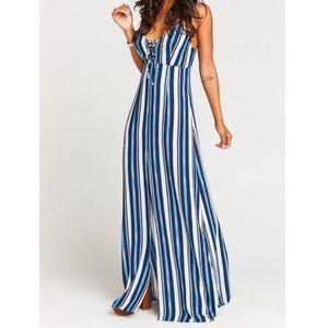 SHOW ME YOUR MUMU blue striped Leyton maxi dress